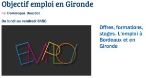 Emission Objectif Emploi de Gironde ne France Bleue Gironde