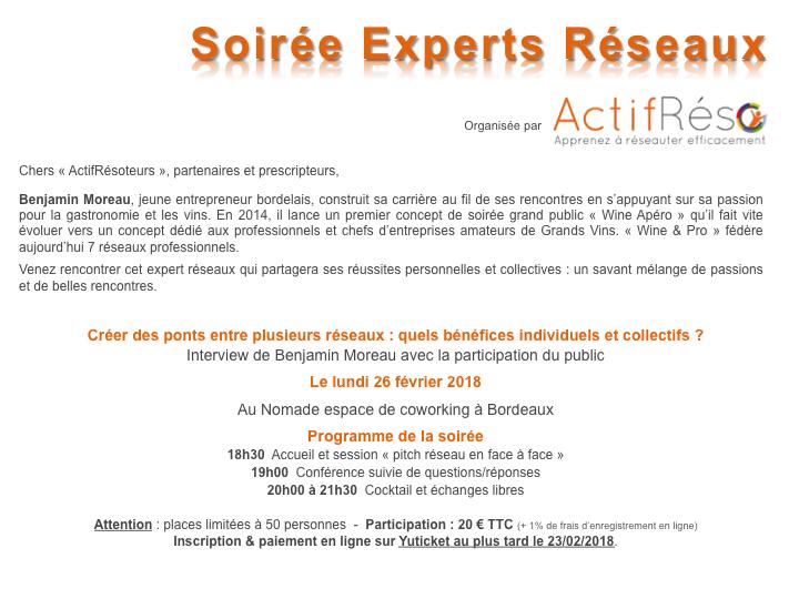 ActifRéso soirée experts réseaux 26 février 2018